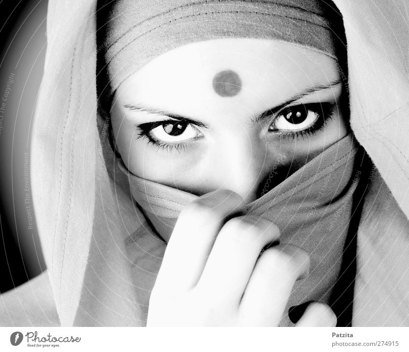 covert Woman Face Portrait photograph Packaged obscured Eyes Indian Foreigner Stranger Doe eyes Dark Black White Hand Timidity Religion and faith Belief