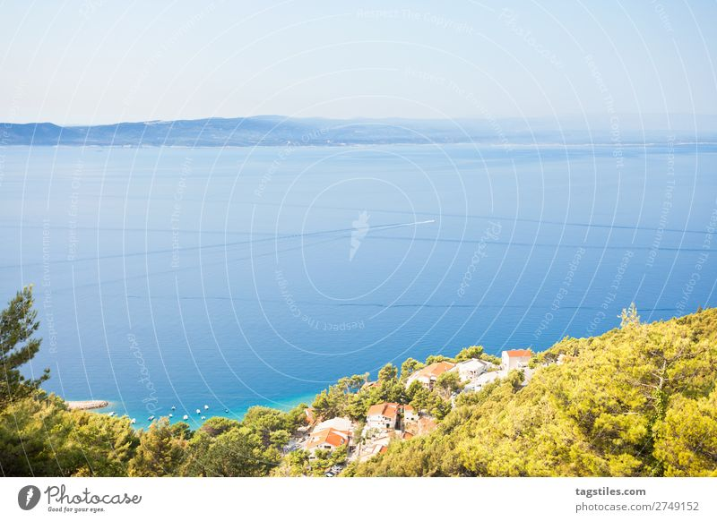 BRELA, CROATIA Adriatic Sea Beach Blue Brela Calm Coast Croatia Dalmatia Dreamily Freedom Harbour Idyll Island Landscape Lifestyle Mountain Nature Card