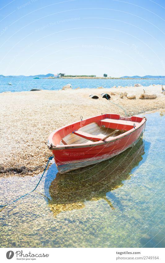 PAKOSTANE BEACH, CROATIA Adriatic Sea Bay Beach Watercraft Camping Cloudless sky Coast Croatia Gravel Harbour Island Landscape Mediterranean sea Mole Nature
