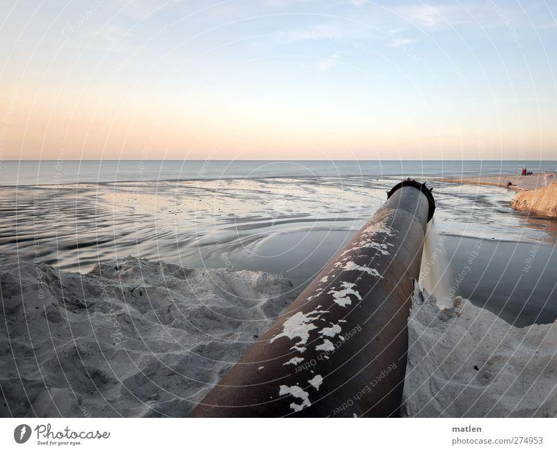 Human being Sky Blue Water Ocean Beach Landscape Coast Sand Air Horizon Brown Beautiful weather Iron-pipe
