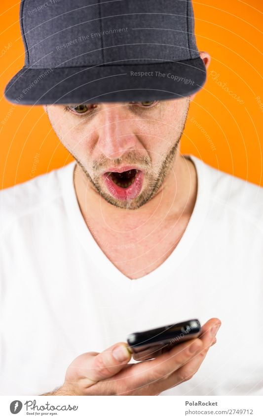 #S# OMG Cellphone Human being Masculine Young man Youth (Young adults) Esthetic Cap PDA Orange T-shirt Amazed Surprise Take by surprise Oh! Mouth