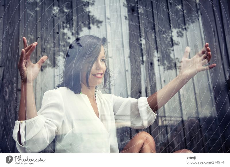 glazed Feminine Young woman Youth (Young adults) Adults 1 Human being 18 - 30 years Blouse Black-haired Brunette Beautiful Glass Pane Colour photo Exterior shot