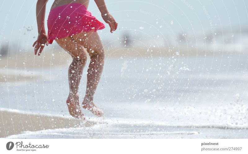 Jump! Joy Life Well-being Swimming & Bathing Summer Summer vacation Beach Feminine Child Girl Infancy 1 Human being 3 - 8 years Sand Pink feet fun holiday legs