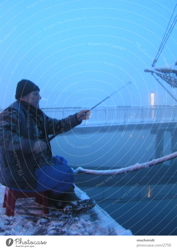Water Winter Snow Fog Fish Bridge Schleswig-Holstein Fishing (Angle) Fisherman Lübeck Sewer Angler Fishing rod Profession