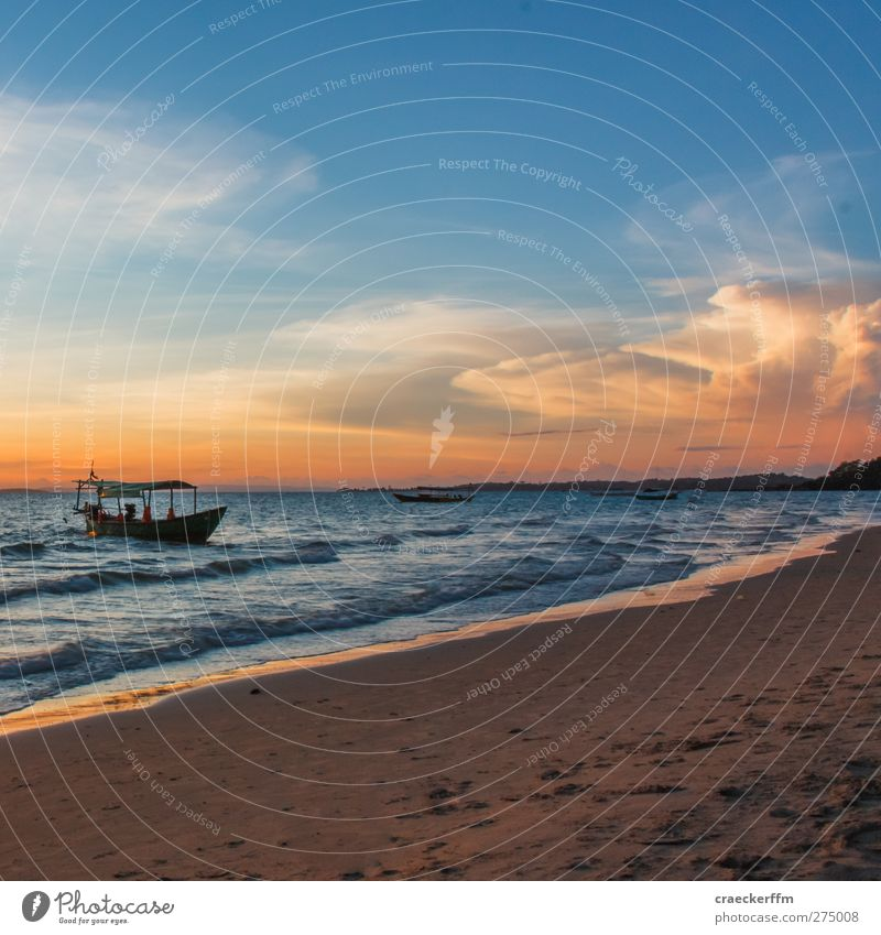 relaxation Vacation & Travel Tourism Far-off places Freedom Sun Beach Ocean Landscape Elements Water Clouds Horizon Sunrise Sunset Summer Beautiful weather