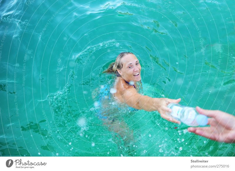 THE BOTTLE Woman Adults 30 - 45 years Summer Waves Swimming pool Blonde Long-haired Smiling Laughter Swimming & Bathing Authentic Happiness Happy Wet Natural