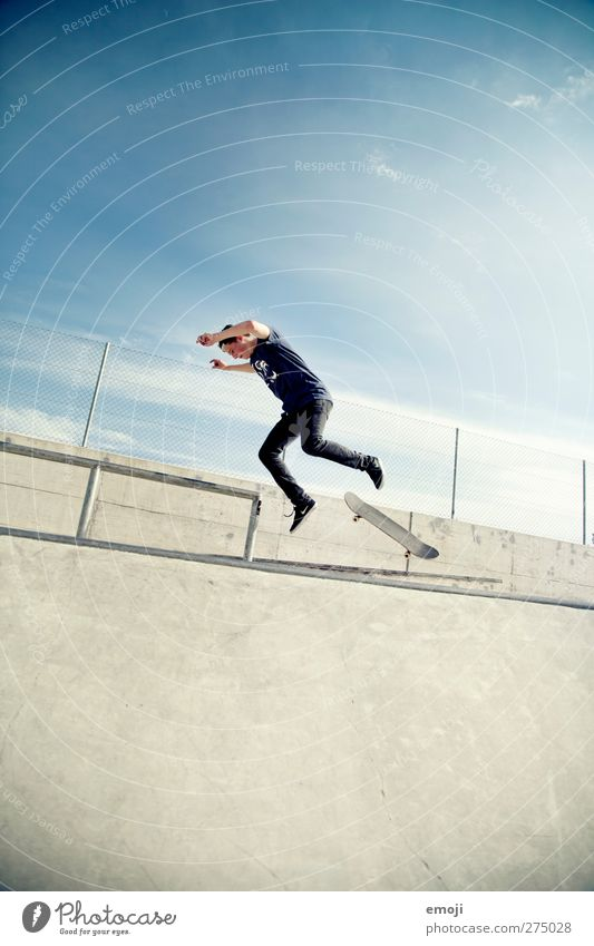 Human being Youth (Young adults) Blue Adults Sports Gray Young man 18 - 30 years Action Individual To fall Skateboarding Sudden fall Snapshot Dynamics