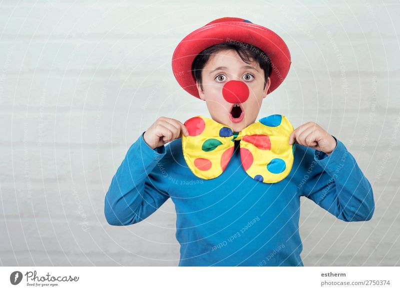 child with clown nose and hat Child Human being Joy Lifestyle Funny Emotions Laughter Feasts & Celebrations Masculine Smiling Birthday Infancy Happiness