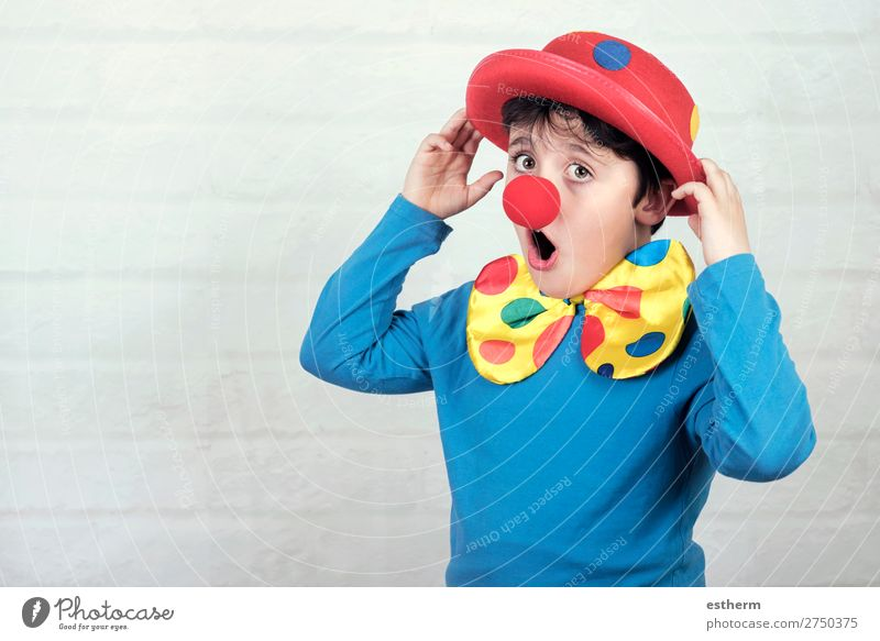 child with clown nose and hat Child Human being Joy Lifestyle Funny Emotions Laughter Happy Feasts & Celebrations Masculine Smiling Birthday Infancy Happiness