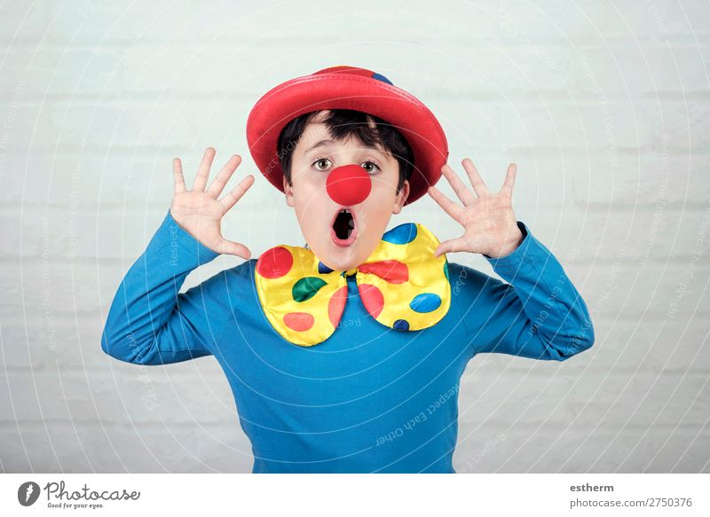 child with clown nose and hat Child Human being Joy Lifestyle Funny Emotions Laughter Feasts & Celebrations Masculine Smiling Birthday Infancy Happiness Fitness