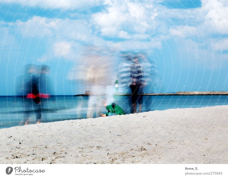 Human being Sky Water Vacation & Travel Summer Sun Ocean Beach Clouds Calm Relaxation Warmth Movement Coast Sand Walking