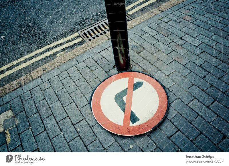 against the right Transport Road traffic Pedestrian Road sign Town Bans Prohibition sign Right Turn off Paving tiles Sidewalk Street England Birmingham Against