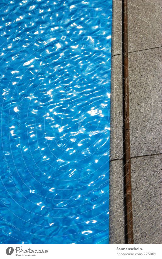be the sea Summer Waves Swimming pool Water Sunlight Blue Calm Colour photo Exterior shot Light Reflection Pool border Open-air swimming pool Copy Space left