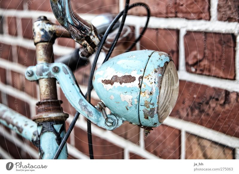 Lamp Bicycle Retro Driving Turquoise Rust Jewellery Vintage Cycling tour Repair Varnish Light blue Bicycle bell Brakes Brick wall Old-school