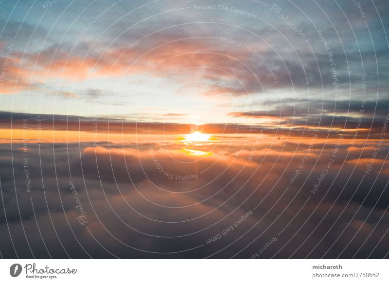 Sunset above the clouds Elegant Vacation & Travel Tourism Adventure Far-off places Freedom Summer Summer vacation Environment Sky Clouds Sunrise Climate