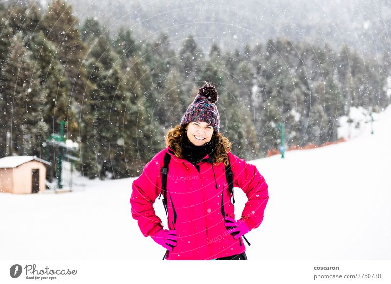 Portrait of Middle aged woman on a snowy day Lifestyle Joy Happy Beautiful Face Vacation & Travel Winter Snow Mountain Human being Feminine Woman Adults Mother