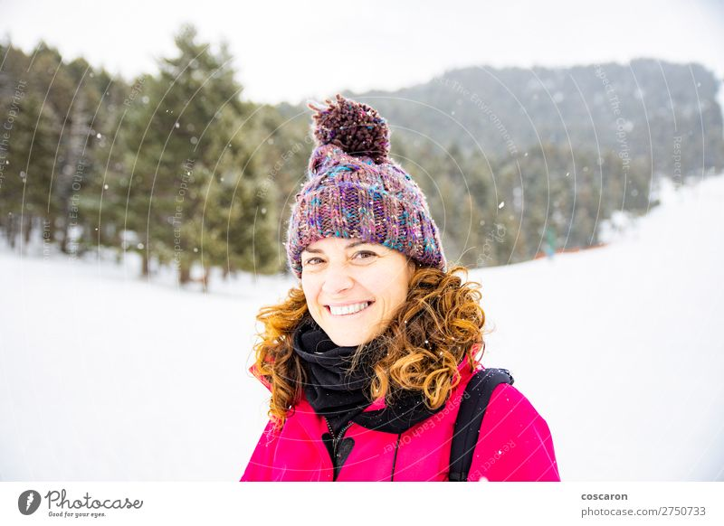 Portrait of attractive woman on a snowy day Woman Human being Vacation & Travel Nature Beautiful White Red Tree Relaxation Joy Forest Winter Mountain Face