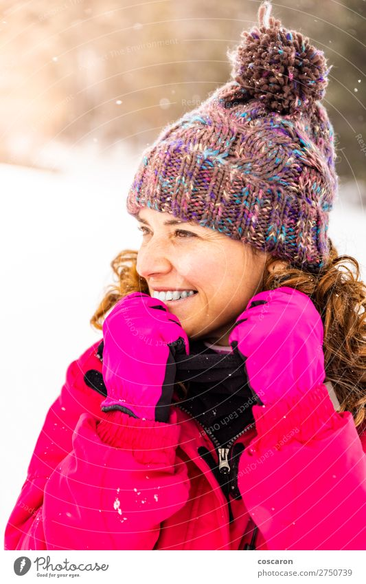 Portrait of attractive woman on a snowy day Lifestyle Elegant Design Joy Happy Beautiful Face Winter Snow Winter vacation Mother's Day Human being Woman Adults