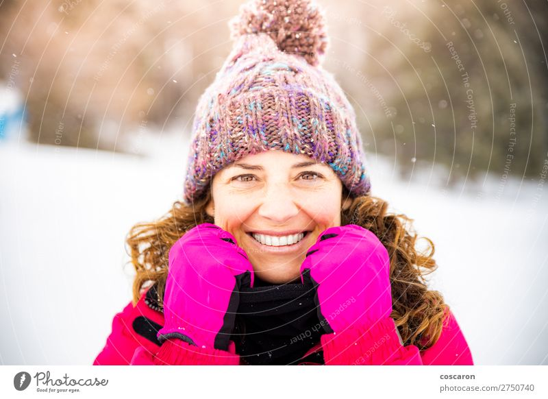 Portrait of attractive woman on a snowy day Woman Human being Vacation & Travel Nature Beautiful White Red Joy Forest Winter Face Lifestyle Adults Cold Snow
