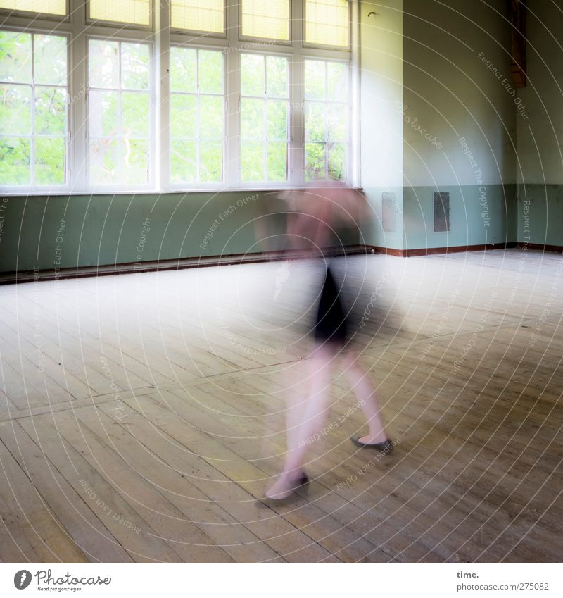 Ghost Dancing Unfinished Ballroom Story (II) Feminine 1 Human being Dance Dancer House (Residential Structure) Wall (barrier) Wall (building) Window Rotate