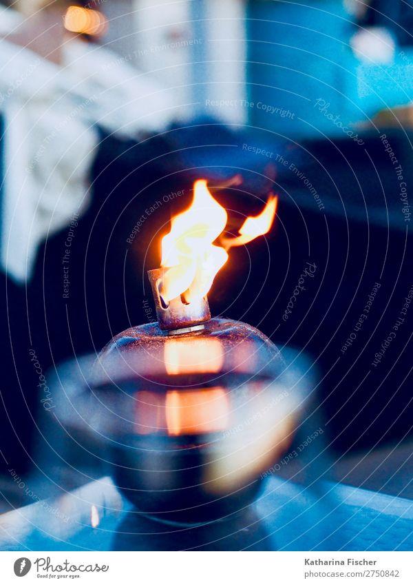 Fire Lamp Glittering Blue Yellow Gold Black White Flame Dusk Evening Relaxation To enjoy Heat Colour photo Exterior shot Deserted Twilight Light