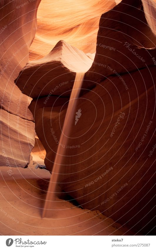 desert fall Rock Canyon Desert Yellow Orange Red Flow Sand Sandstone Washed out Antelope Canyon Warmth Colour photo Exterior shot Copy Space left