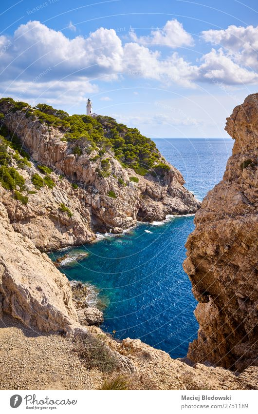 Scenic cove with Capdepera Lighthouse, Mallorca. Vacation & Travel Trip Adventure Far-off places Freedom Summer Sun Ocean Island Nature Landscape Sky Rock Coast