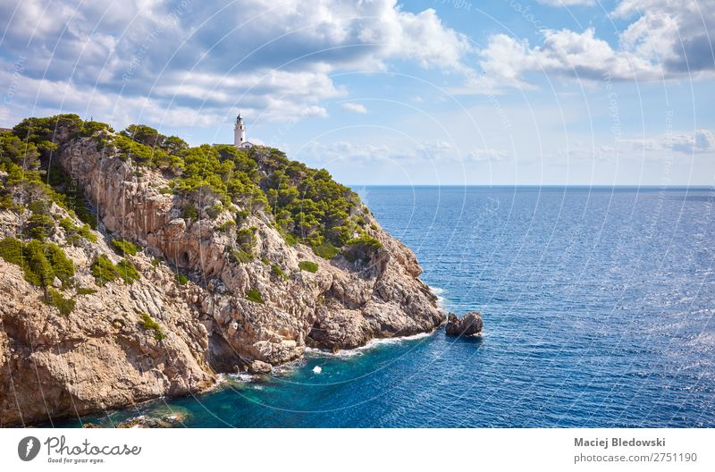 Scenic landscape with Capdepera Lighthouse, Mallorca. Vacation & Travel Adventure Far-off places Freedom Summer Summer vacation Sun Ocean Island Waves Nature