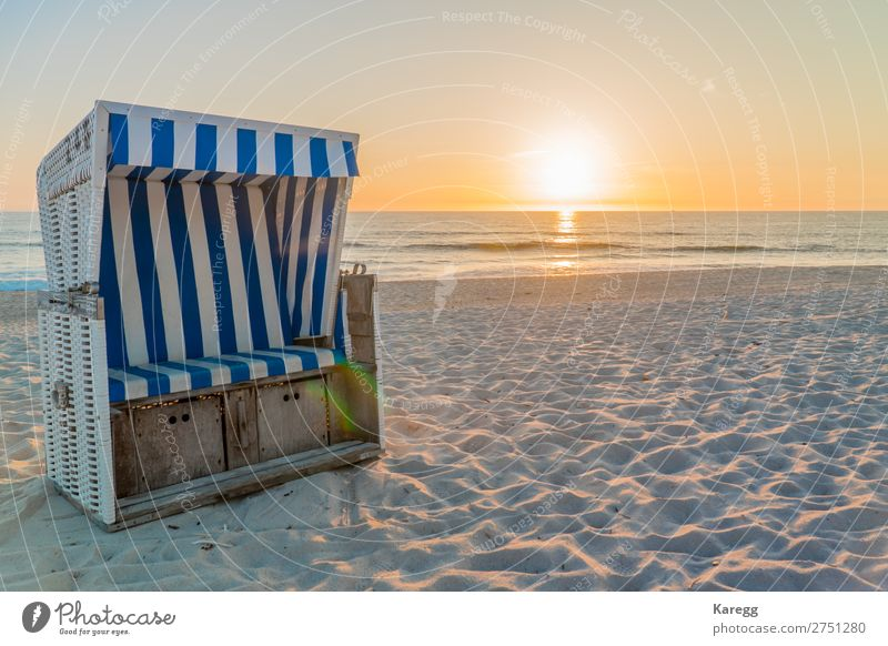 Beach on an island of the North Sea Landscape Sun Summer Beautiful weather Warmth Moody Calm Longing Wanderlust Colour photo Exterior shot Deserted Evening