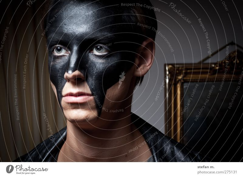 Black Mirror Elegant Style Human being Masculine Man Adults 1 18 - 30 years Youth (Young adults) Art Artist Stage play Culture Fashion Mask Black-haired Think