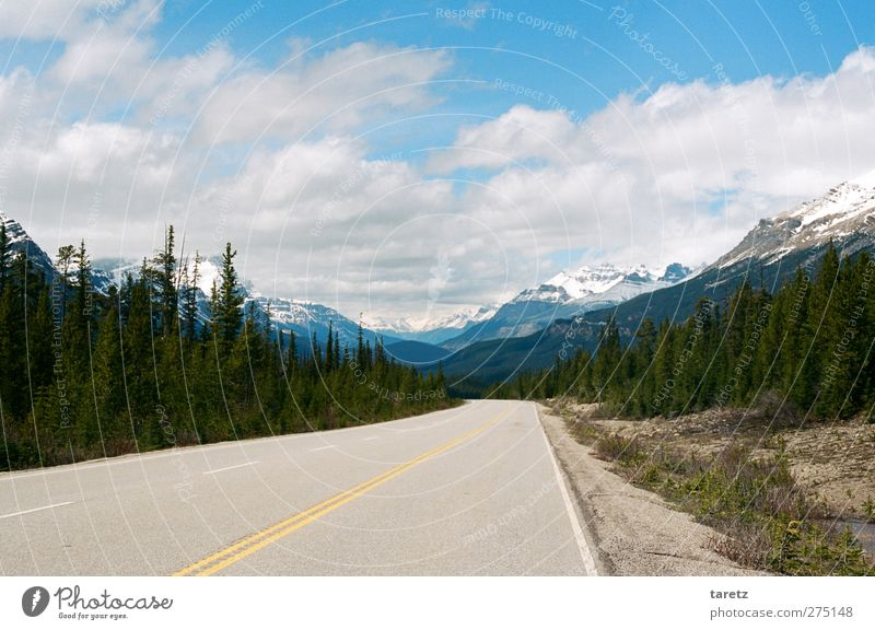 Infinite widths Environment Landscape Clouds Summer Beautiful weather Cedar Mountain Rocky Mountains Mountain range Street Glacier View Highway Adventure
