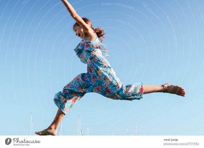 Jump 4 joy Athletic Playing Feminine Girl 1 Human being 8 - 13 years Child Infancy Cloudless sky Summer Fishing village Port City jumpsuit Flying Brash