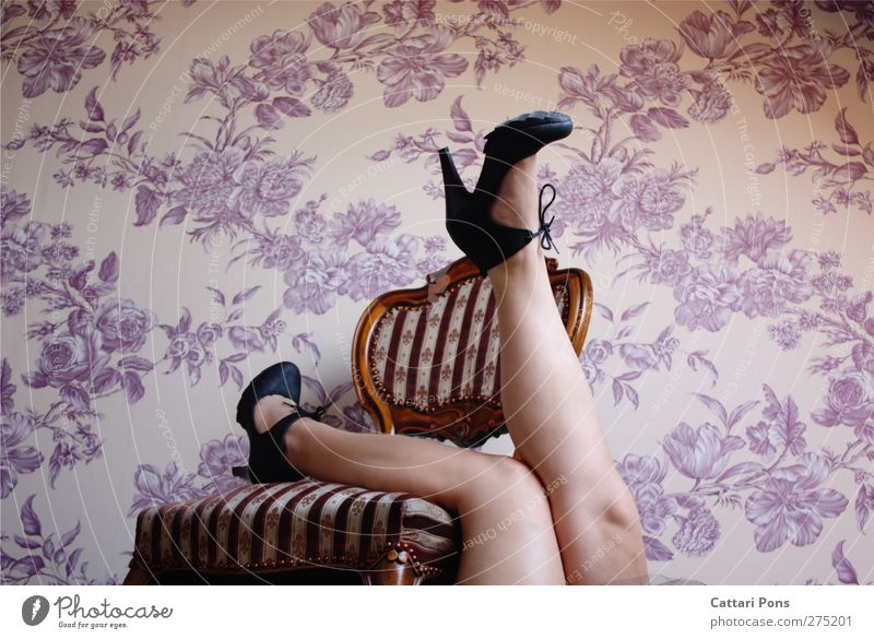 relaxing in her flowerbed Style Body Flat (apartment) Arrange Chair Room High heels Relaxation Lie Make Elegant Bright Beautiful Uniqueness Eroticism Feminine