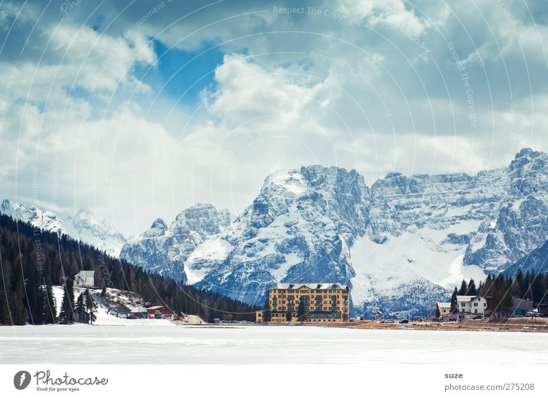 Lake Misurina Vacation & Travel Tourism Trip Mountain Hiking Environment Nature Landscape Sky Clouds Beautiful weather Ice Frost Forest Rock Alps Peak