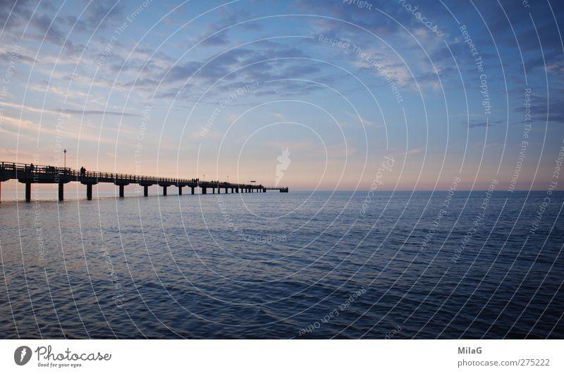 into blue Vacation & Travel Far-off places Freedom Ocean Landscape Sky Coast Baltic Sea Sea bridge Blue Moody Dream Serene Hope Horizon Meditative Meditation