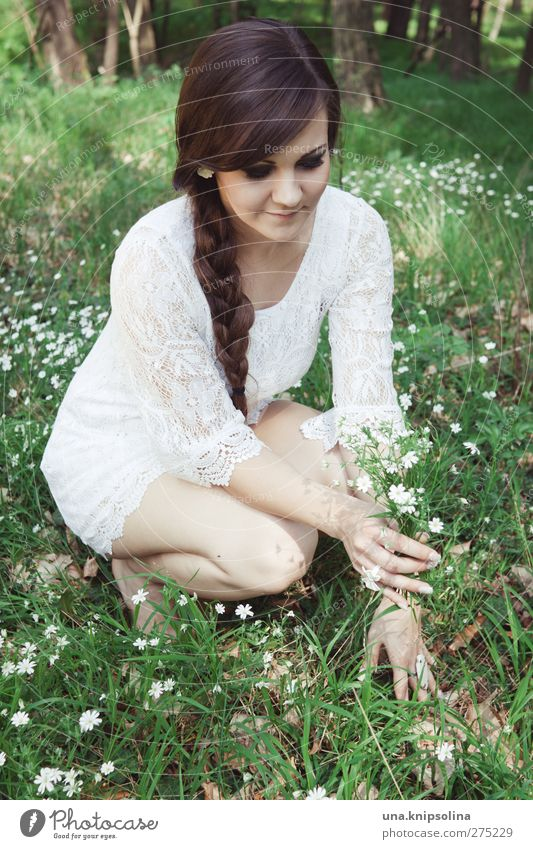 Human being Woman Youth (Young adults) White Green Beautiful Plant Flower Adults Forest Meadow Feminine Grass Young woman Blossom Fashion
