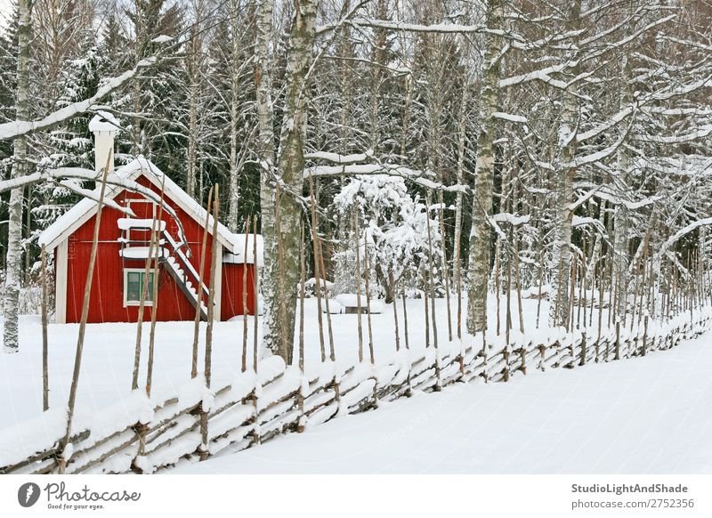 Little red house covered by snow Beautiful Calm Winter Snow House (Residential Structure) Nature Landscape Weather Snowfall Tree Forest Village Hut Building
