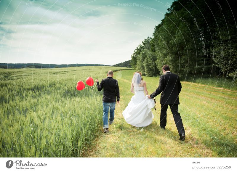 Human being Woman Sky Nature Man Youth (Young adults) Summer Adults Landscape Feminine Happy Going Field Exceptional 18 - 30 years Heart