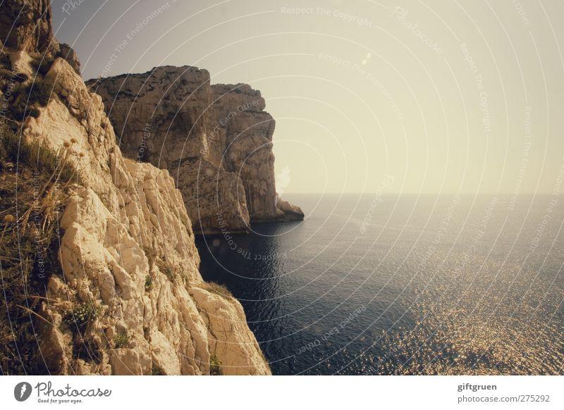 on the ragged edge Environment Nature Landscape Plant Elements Water Sky Horizon Sun Summer Weather Rock Waves Coast Bay Ocean Island Tall Sardinia Italy