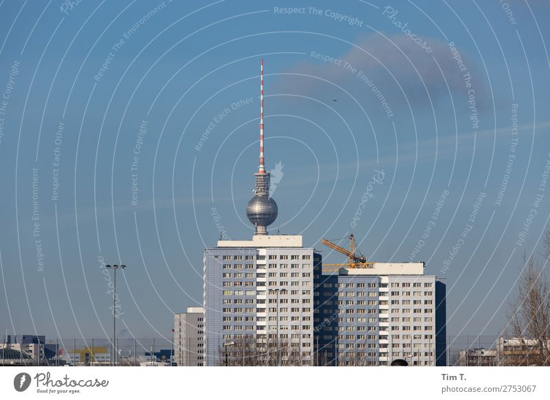 Berlin Friedrichshain Downtown Skyline Deserted Manmade structures Architecture Television tower Tourism Town Prefab construction New building Colour photo