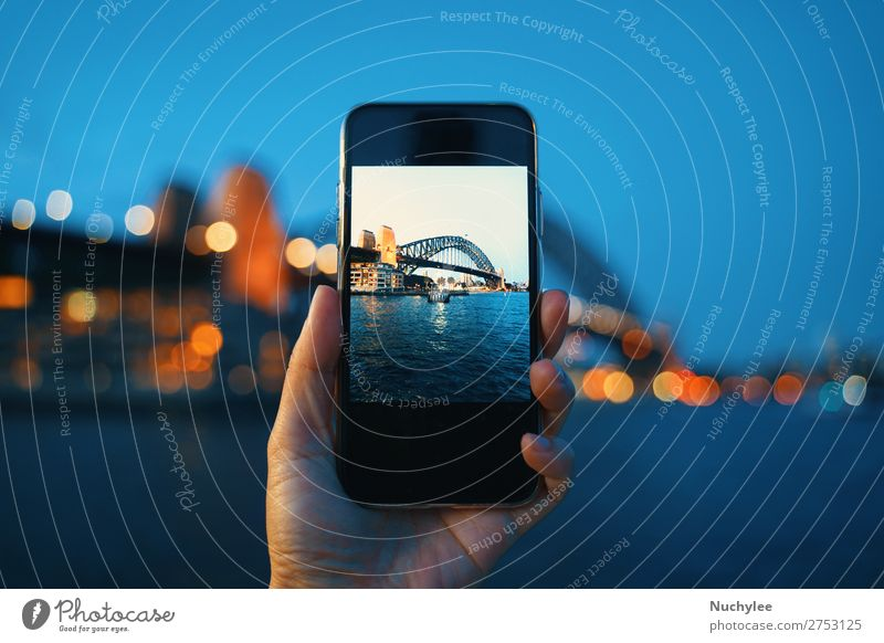 Hand holding smartphone screen taking photo Lifestyle Vacation & Travel Tourism Ocean Night life Telephone PDA Computer Screen Technology Human being Adults