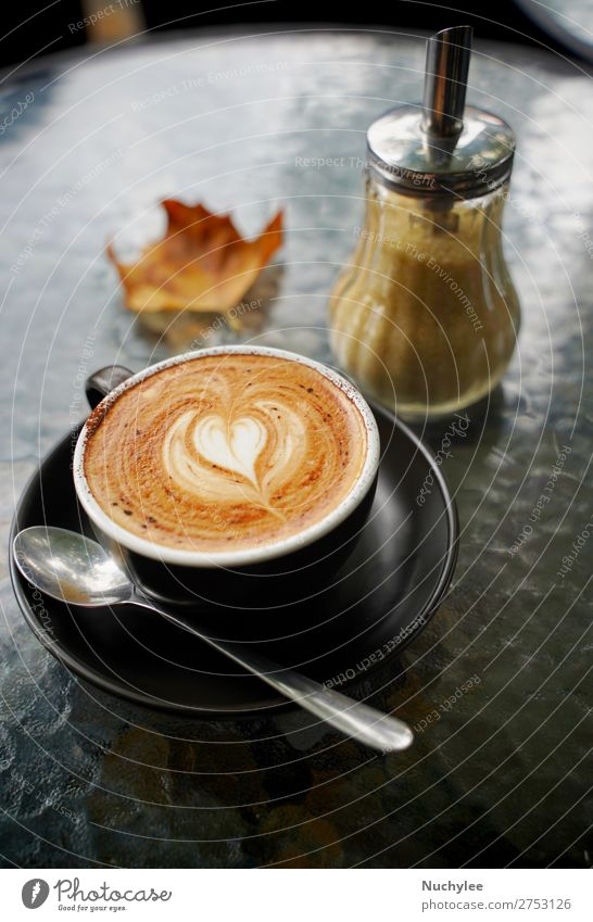 Hot cup of coffee latte and flat white Dessert Breakfast Beverage Coffee Espresso Table Art Autumn Fresh Brown Black White Aromatic Autumn leaves background