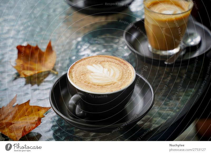 Hot cup of coffee latte and flat white with autumn leaves Dessert Breakfast Beverage Coffee Espresso Table Art Autumn Fresh Brown Black White Aromatic