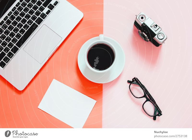 flat lay of workspace desk Colour Lifestyle Business Copy Space Work and employment Office Modern Vantage point Technology Table Creativity Computer Paper