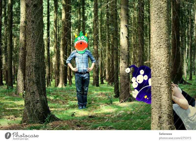 a monoculture, my ass. Playing Human being 2 Environment Nature Summer Beautiful weather Plant Tree Grass Moss Forest Clothing Shirt Jeans Mask Kneel Scream