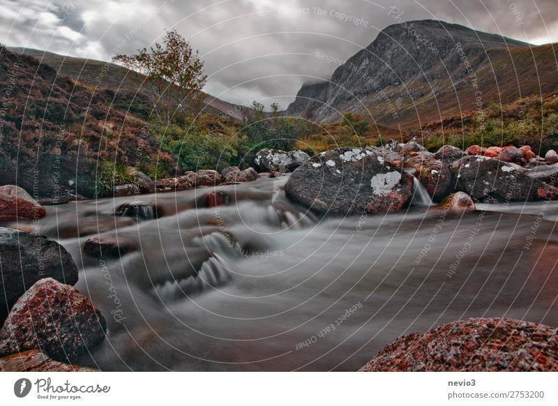 On the way to Ben Nevis in Scotland Landscape Hill Rock Mountain Brook River Waterfall Natural Gray Green Great Britain Vacation & Travel Wilderness Hiking