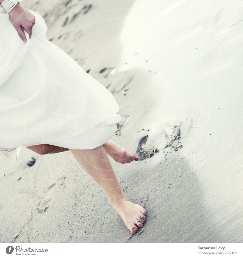 footsteps in the sand Luxury Life Vacation & Travel Trip Summer Summer vacation Beach Ocean Human being Feminine Woman Adults Legs Feet 1 Elements Water