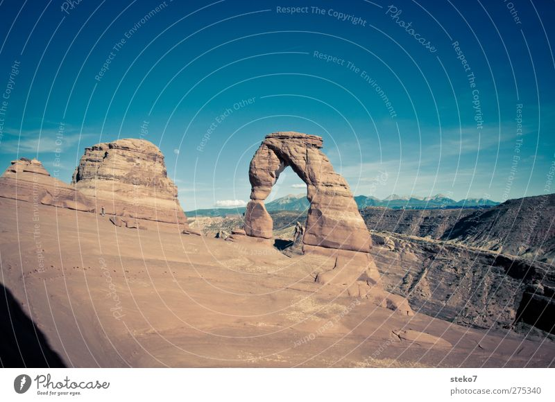 Delicate Arch Cloudless sky Moon Rock Mountain Famousness Blue Brown Yellow Arches National Park Graceful Colour photo Exterior shot Copy Space top