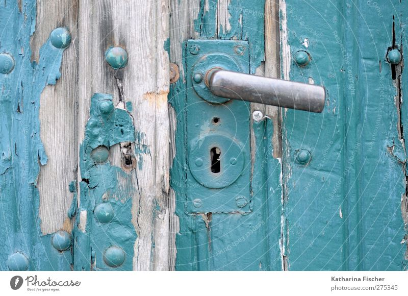 Old Stories Door Wood Silver Turquoise Door lock Door handle plaster Flake off Gate Old building Dye Weather Decline Varnish Colour photo Exterior shot Close-up