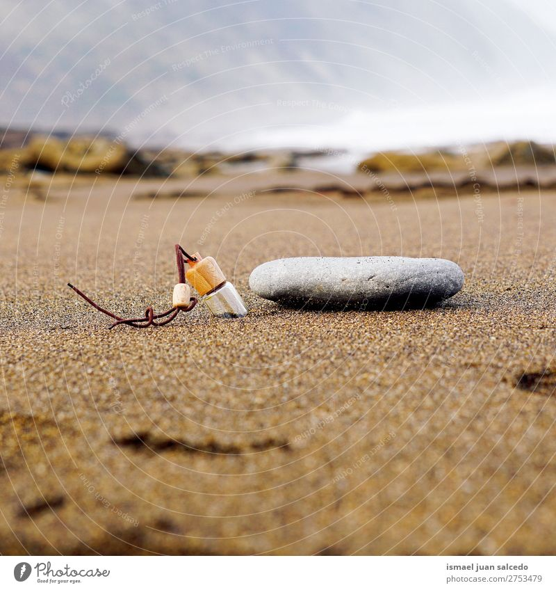 bottle and stone on the sand Nature Landscape Relaxation Calm Beach Coast Stone Sand Spain Serene Bottle Bilbao